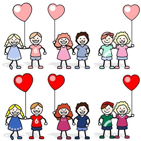 Los niños con globos en forma de corazón