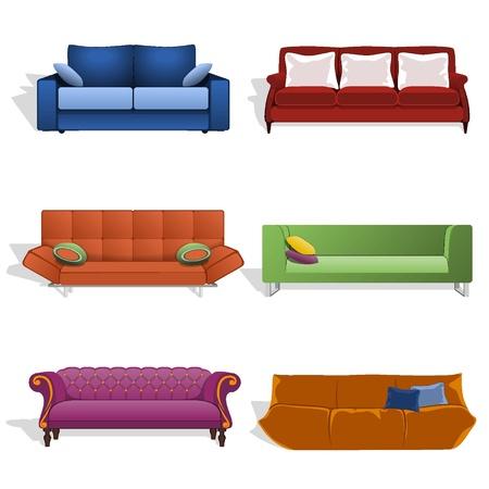 Sofás en diferentes colores y diseños Vectores