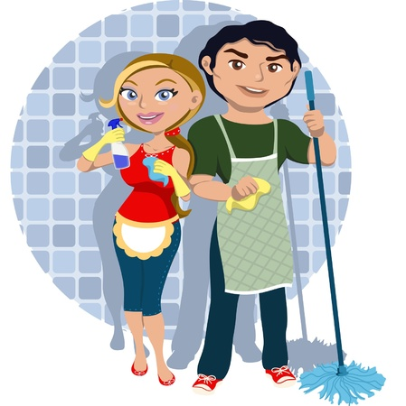 Domestic cleaning: Man and woman sharing housework Illustration