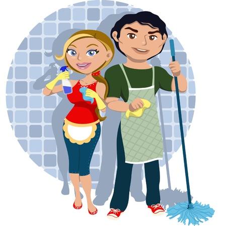 Mann und Frau Sharing Hausarbeit