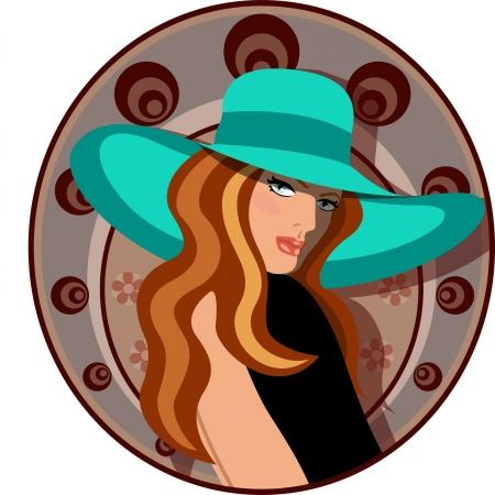 모자와 드레스와 우아한 여자 일러스트
