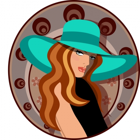 Elegant woman with hat and dress Illustration