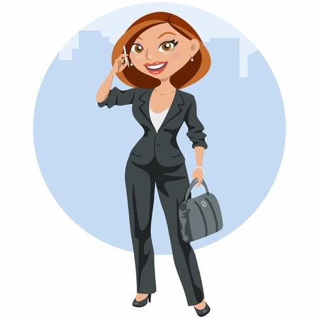 femme dessin: Femme d'affaires �l�gante parlant par le mobile Illustration