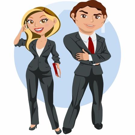 남자와 우아한 비즈니스 여자 일러스트