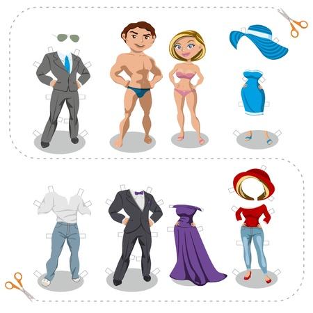 Juego recortes hombre y mujer ropa Vectores