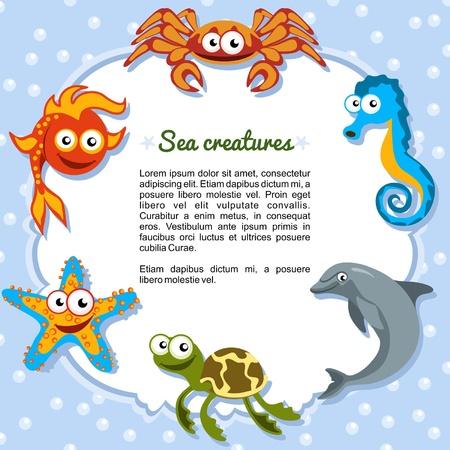 marinha: Criaturas do mar, formando uma moldura