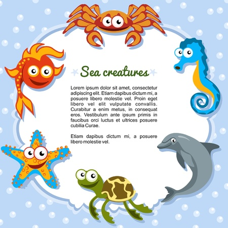 marine animals: Sea creatures forming a frame