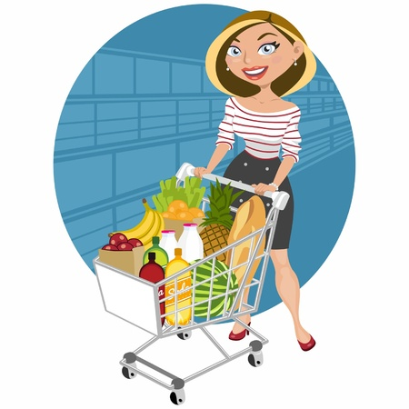 food supply: Beautiful woman at supermarket Illustration