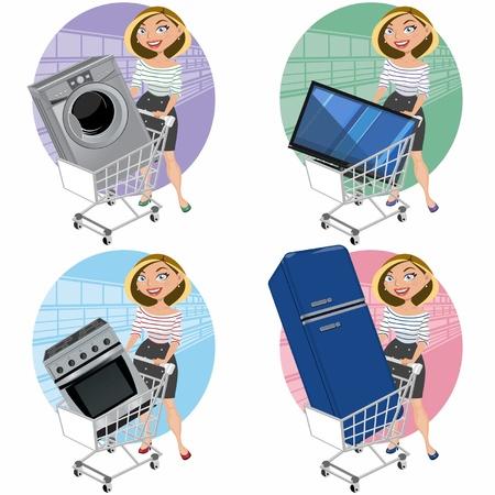 Las mujeres con aparatos en la cesta de la compra Vectores