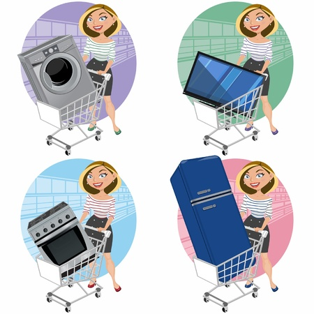 Women with appliances in the shopping cart Vector