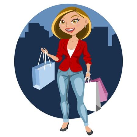 Hermosa mujer de compras en la ciudad