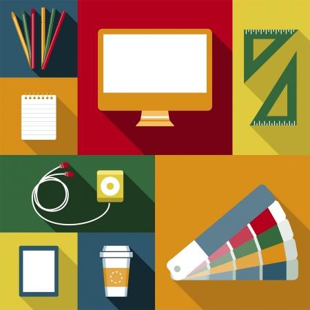 Trabajo Objetos diseñador Vectores