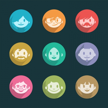 Smiling faces icons Vectores