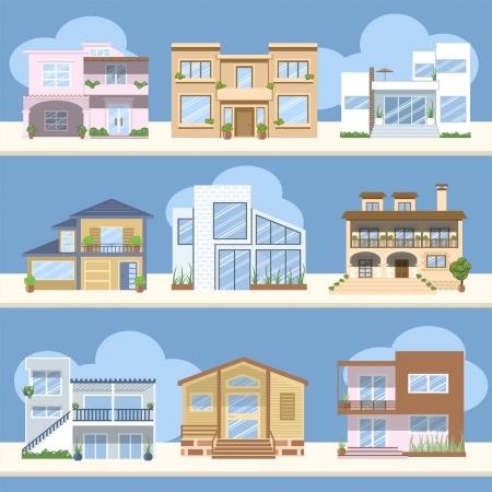 Las casas con hermosos colores y diseños