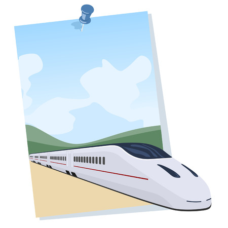 Passenger train coming out of a poster