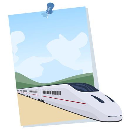 Tren de pasajeros que salen de un cartel