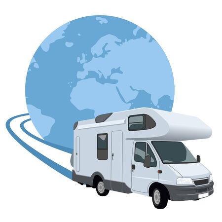 motorhome: Mobile home vicino alla spiaggia Vettoriali