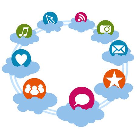 Iconos sociales en la nube Vectores