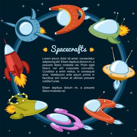 우주선과 별 비행 로켓