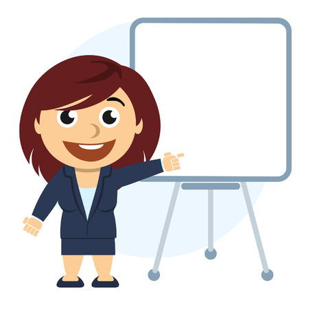 cartoons outline: Business woman showing a graph on the board Illustration