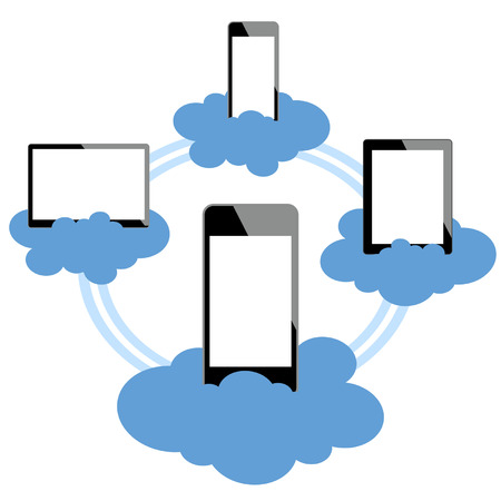 Los dispositivos móviles conectados en la nube Foto de archivo - 25427444