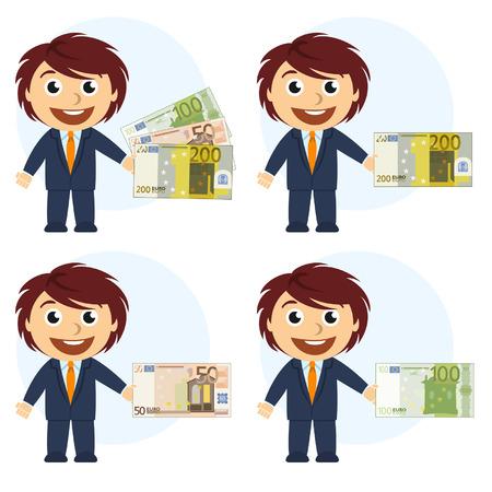 Man in suit and money in hand Vectores