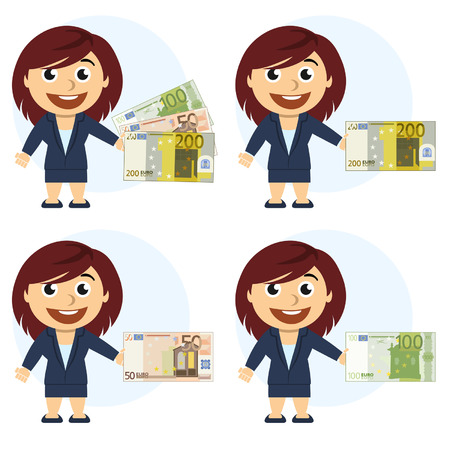 Woman in a suit and money in hand Illustration