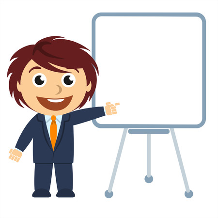 cartoons outline: Businessman showing a graph on the board