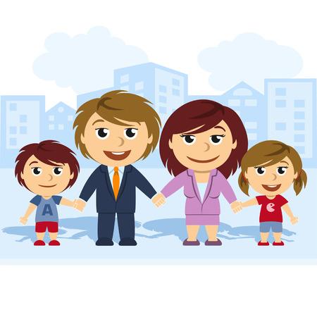 Familia unida de la mano