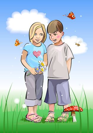 Valentine s Day, the children on the meadow photo