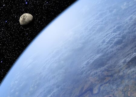 photorealism: View on Earth and Moon from space