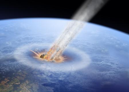 asteroid: Asteroid impact on Earth Stock Photo