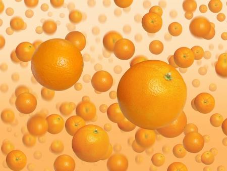 oranges falling down