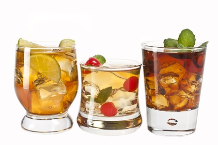 three refreshing alcoholic and non-alcoholic cocktails photo