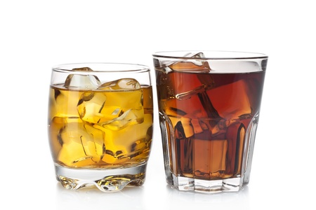 whiskey glass: two refreshing alcoholic and non-alcoholic cocktails
