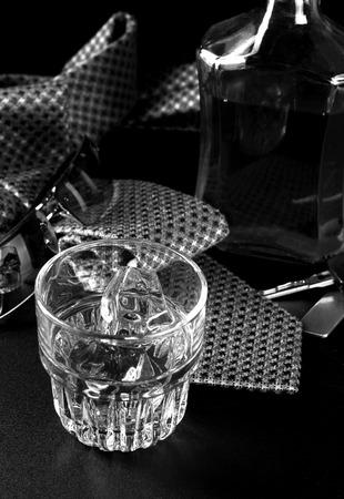 Whiskey on the rocks on a hard days night photo