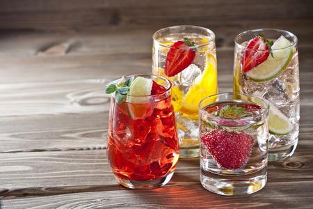 Fruit cocktails on a wooden table Stok Fotoğraf