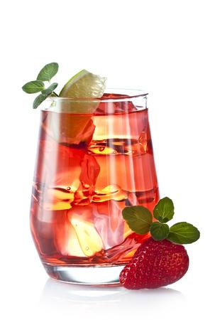 Fruit cocktail on a white background Stok Fotoğraf