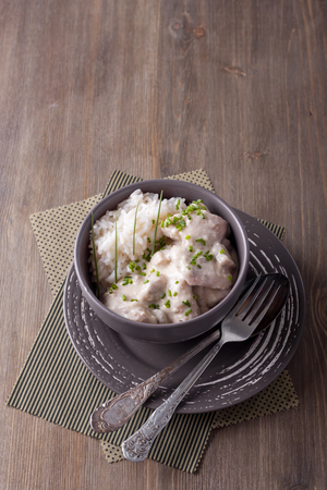 Meat with cream sauce and basmati rice
