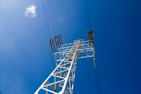 reliance: Reliance power lines against the blue sky Stock Photo