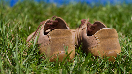 A pair of sports gym shoes on a grass
