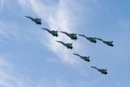 MOSCOW, RUSSIA - MAY 09, 2015: Russian military aircrafts in the sky at the Victory Day in Moscow, Russia 報道画像