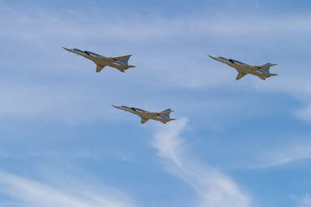 MOSCOW, RUSSIA - MAY 09, 2015: Russian bombers TU-22M3 in the sky at the Victory Day in Moscow, Russia. Editorial