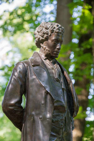 Monument to Alexander Pushkin - the famous Russian poet in Ostafyevo, Moscow region.