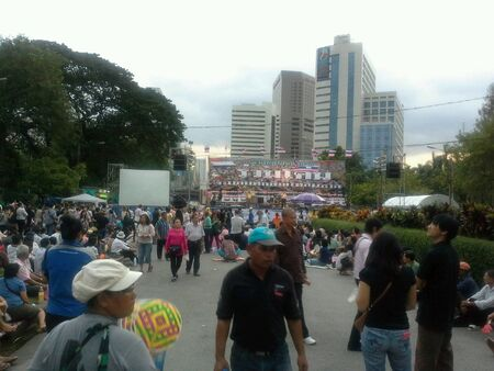 lumpini: Thailands anti - government protesters at lumpini park. Stock Photo