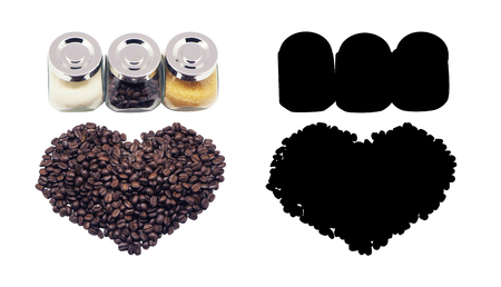 Non-dairy creamer, sugar and beans Coffee, isolated and Black Picture for die-cut Stock Photo