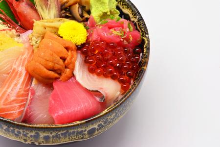 Mixed sashimi , raw and fresh Salmon, tuna, snapper, salmon roe, Uni, japanese eel, wasabi Stock Photo