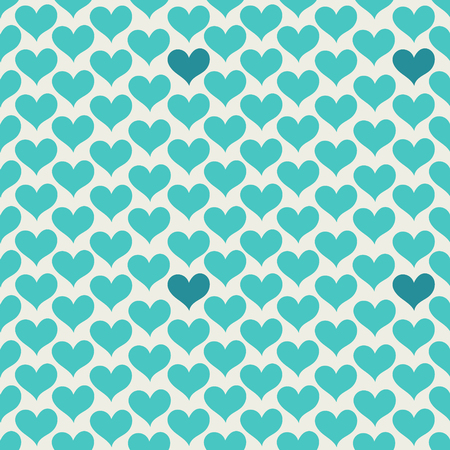 Colorful seamless pattern with hearts. Vector illustration. Hearts on a light background. Turquoise hearts