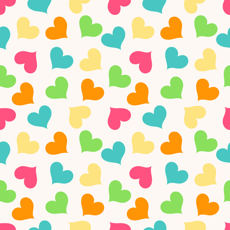 Colorful seamless pattern with hearts. Vector illustration. Hearts on a light background