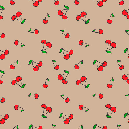 Seamless pattern with cherries. Fruit Background. Vector Illustration